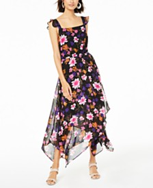 Bar III Floral-Print Open-Back Dress, Created for Macy's