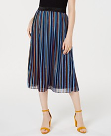 I.N.C. Pleated Rainbow Shine Skirt, Created for Macy's