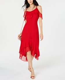 I.N.C. Solid Cold-Shoulder Midi Dress, Created for Macy's