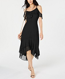 INC Solid Cold-Shoulder Midi Dress, Created for Macy's