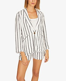 Artist Striped One-Button Blazer