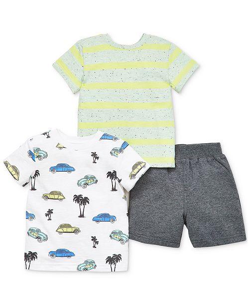Little Me Baby Boys 3-Pc. Cotton Shirts & Shorts Set