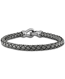 Braided Leather Bracelet in Stainless Steel