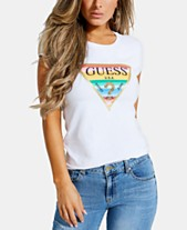 b86a180030 GUESS Crew-Neck Striped-Graphic T-Shirt