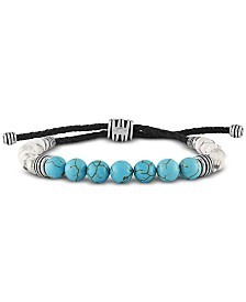 Esquire Men's Jewelry Dyed Blue Magnesite & White Howlite Beaded Bolo Bracelet in Sterling Silver
