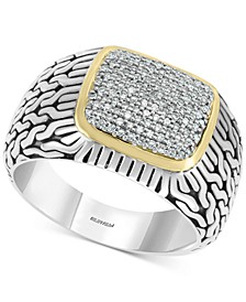EFFY® Men's Diamond Cluster Ring (1/3 ct. t.w.) in Sterling Silver & 14k Gold