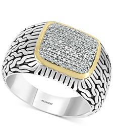 EFFY® Men's Diamond Cluster Ring (1/3 ct. t.w.) in Sterling Silver & 14k Gold