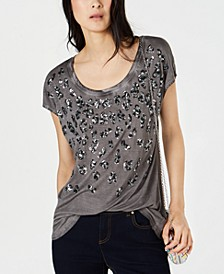 INC Sequined Leopard T-Shirt, Created for Macy's