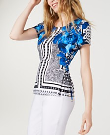 I.N.C. Printed Lace-Up Corset Top, Created for Macy's