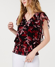 I.N.C. Smocked-Hem Ruffled Top, Created for Macy's