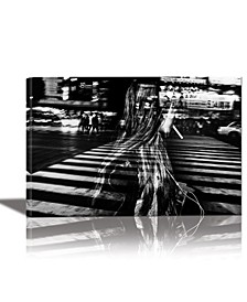 Girl with Cigarette Framed Canvas Wall Art