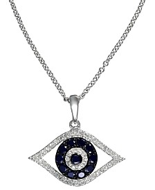 EFFY® Sapphire (1/4 ct. t.w.) and Black and White Diamond (1/8 ct. t.w.) Evil Eye Pendant in 14k Gold