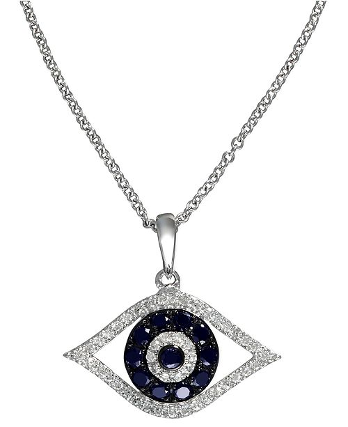 EFFY Collection EFFY Sapphire (1/4 ct. t.w.) and Black and White Diamond (1/8 ct. t.w.) Evil Eye Pendant in 14k Gold