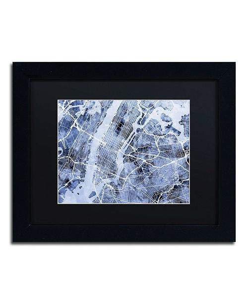 "Trademark Global Michael Tompsett 'New York City Street Map B&W' Matted Framed Art - 11"" x 14"""