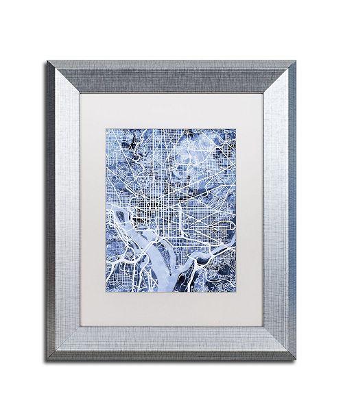 "Trademark Global Michael Tompsett 'Washington DC Street Map B&W' Matted Framed Art - 11"" x 14"""
