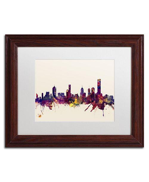 """Trademark Global Michael Tompsett 'Melbourne Skyline' Matted Framed Art - 11"""" x 14"""""""