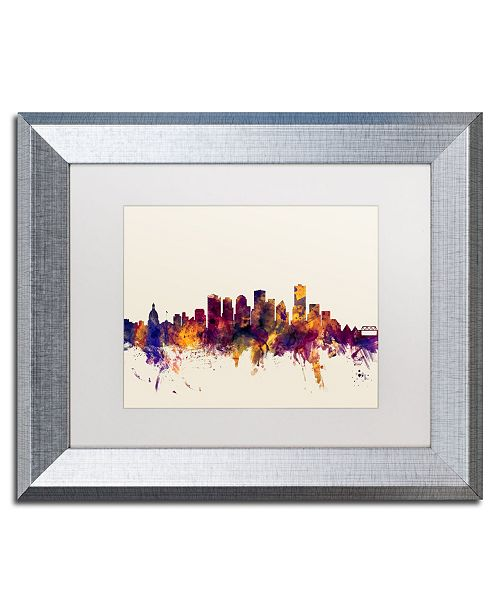 "Trademark Global Michael Tompsett 'Edmonton Canada Skyline' Matted Framed Art - 11"" x 14"""