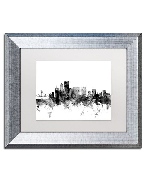 "Trademark Global Michael Tompsett 'Portland Oregon Skyline B&W' Matted Framed Art - 11"" x 14"""