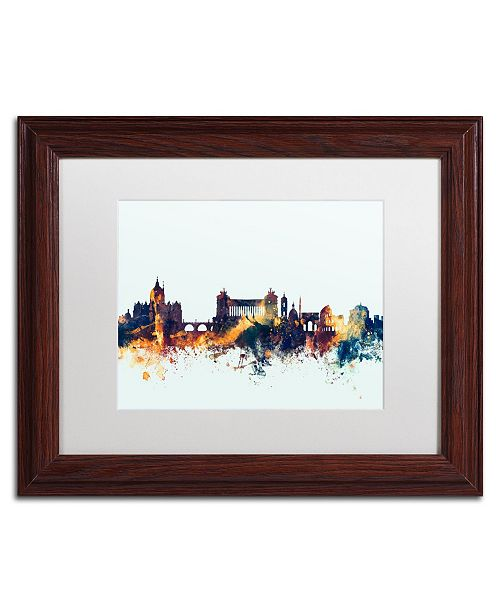 "Trademark Global Michael Tompsett 'Rome Italy Skyline Blue' Matted Framed Art - 11"" x 14"""