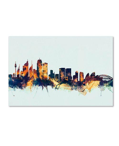 "Trademark Global Michael Tompsett 'Sydney Australia Skyline Blue' Canvas Art - 12"" x 19"""