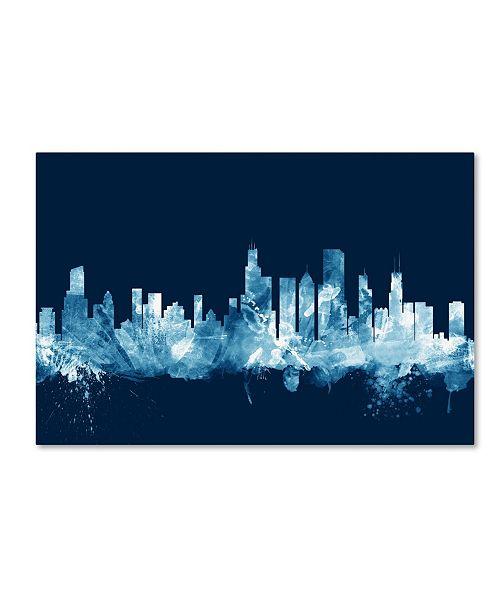 "Trademark Global Michael Tompsett 'Chicago Illinois Skyline Navy' Canvas Art - 12"" x 19"""