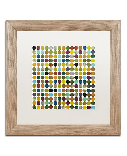 "Trademark Global Michelle Calkins 'Rustic Rounds 125' Matted Framed Art - 16"" x 16"""