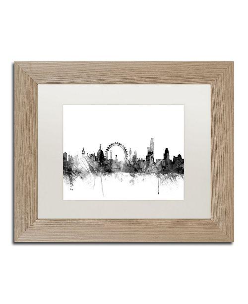 "Trademark Global Michael Tompsett 'London England Skyline B&W 2' Matted Framed Art - 11"" x 14"""