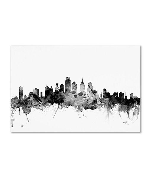 "Trademark Global Michael Tompsett 'Philadelphia PA Skyline B&W' Canvas Art - 12"" x 19"""