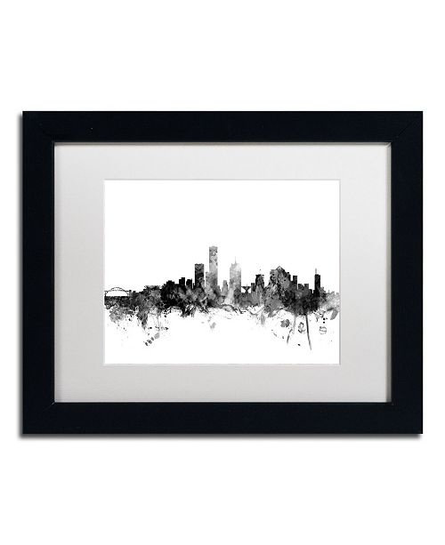 "Trademark Global Michael Tompsett 'Milwaukee WI Skyline B&W' Matted Framed Art - 11"" x 14"""