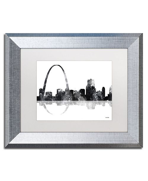 "Trademark Global Marlene Watson 'Gateway Arch St Louis Skyline BG-1' Matted Framed Art - 11"" x 14"""