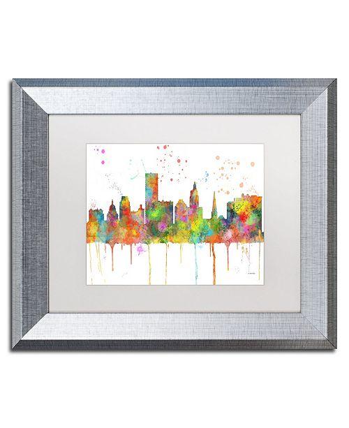 "Trademark Global Marlene Watson 'Providence RI Skyline Mclr-1' Matted Framed Art - 11"" x 14"""