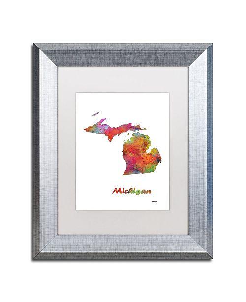 "Trademark Global Marlene Watson 'Michigan State Map-1' Matted Framed Art - 11"" x 14"""