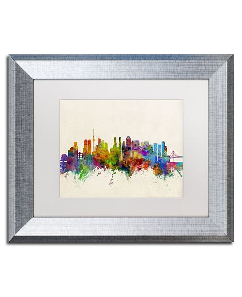 "Trademark Global Michael Tompsett 'Tokyo Japan Skyline II' Matted Framed Art - 11"" x 14"""