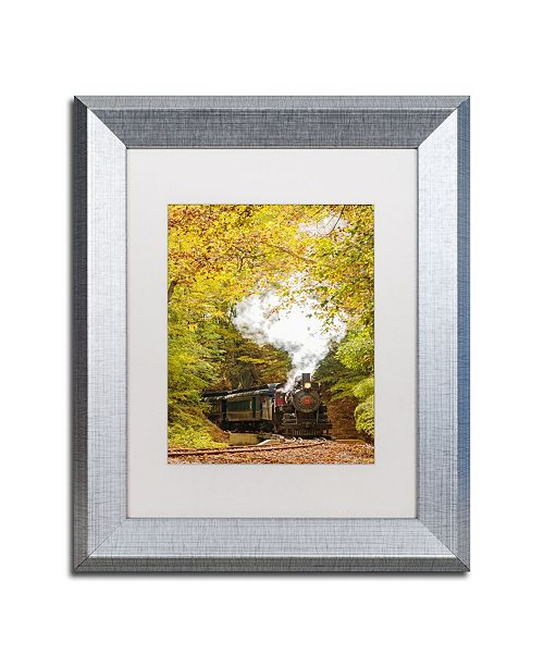 "Trademark Global PIPA Fine Art 'Steam Train with Autumn Foliage' Matted Framed Art - 11"" x 14"""