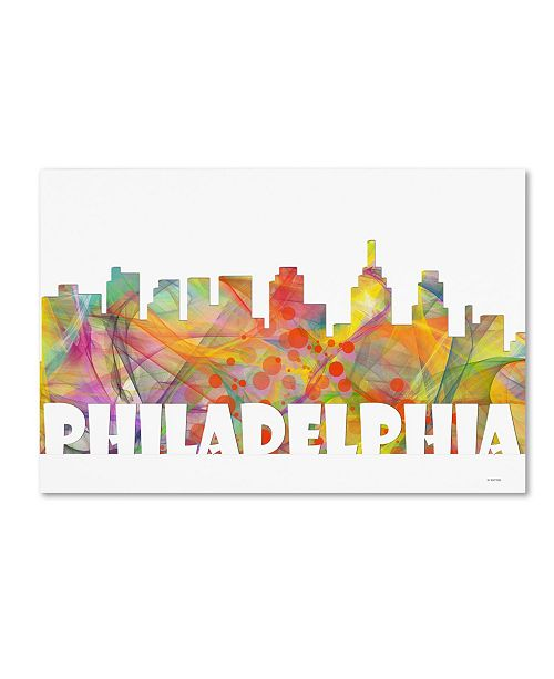 "Trademark Global Marlene Watson 'Philadelphia Skyline Mclr-2' Canvas Art - 12"" x 19"""
