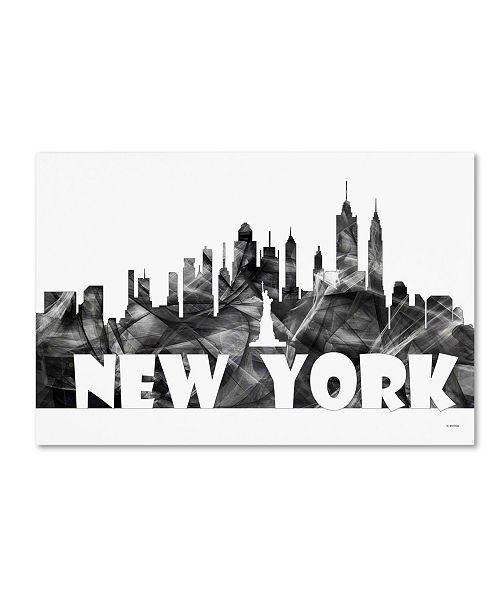 "Trademark Global Marlene Watson 'New York New York Skyline BG-2' Canvas Art - 12"" x 19"""