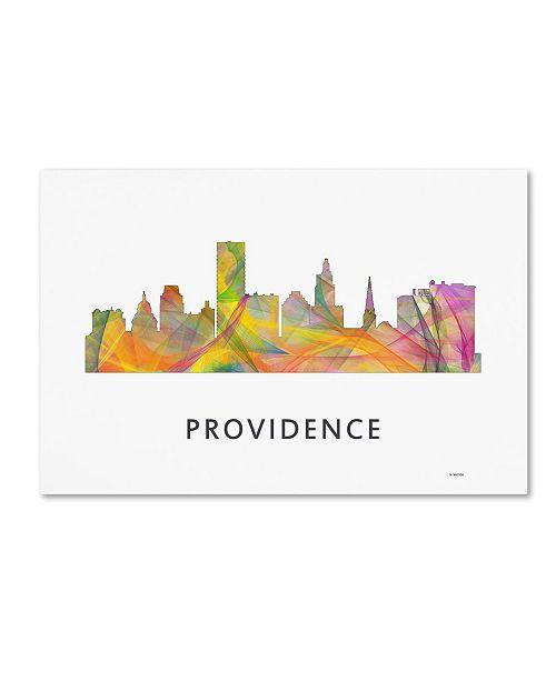 "Trademark Global Marlene Watson 'Providence Rhode Island Skyline WB-1' Canvas Art - 12"" x 19"""