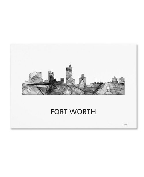 "Trademark Global Marlene Watson 'Fort Worth Texas Skyline WB-BW' Canvas Art - 12"" x 19"""