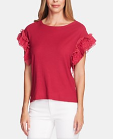 Vince Camuto Eyelet-Trim Mixed-Media Top