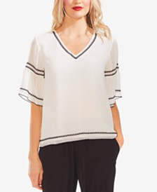 Vince Camuto V-Neck Embroidered Top