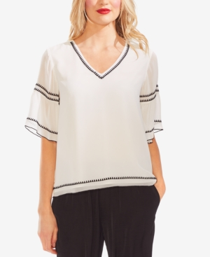 Vince Camuto Tops V-NECK EMBROIDERED TOP