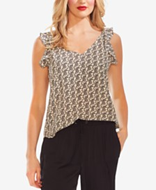 Vince Camuto Paisley Flutter-Sleeve Top