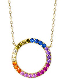 "Giani Bernini Cubic Zirconia Rainbow Circle 18"" Pendant Necklace in 18k Gold-Plated Sterling Silver, Created for Macy's"