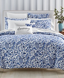 Charter Club Damask Designs Textured Paisley Cobalt Bedding Collection, Created for Macy's