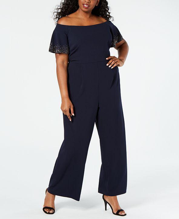 Calvin Klein Plus Size Embellished Off-The-Shoulder Jumpsuit
