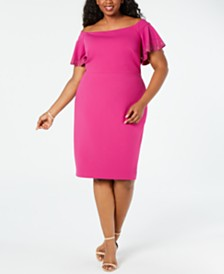 Calvin Klein Plus Size Embellished Off-The-Shoulder Sheath Dress