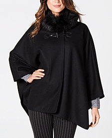 Jones New York Faux-Fur-Collar Cape Coat