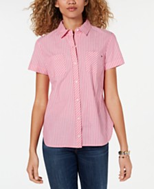 Tommy Hilfiger Striped Camp Button-Up Shirt