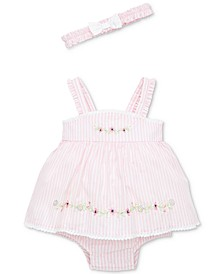 Baby Girls 2-Pc. Springtime Cotton Popover & Headband Set