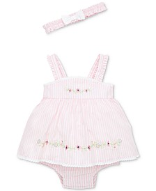 Little Me Baby Girls 2-Pc. Springtime Cotton Popover & Headband Set